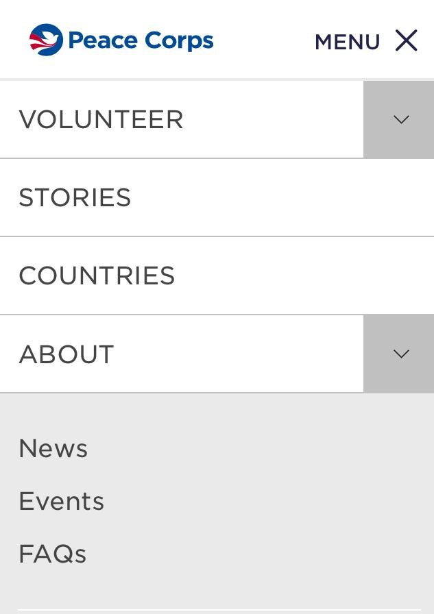 Peace Corps responsive design